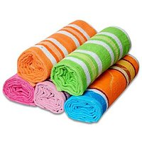 JBG Home Store Multi Color Cotton Bath Towels (Set Of 5)