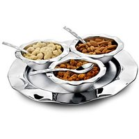 Designer Diwali Gift Set Of 3 Nut Bowls With Tray Ruffle
