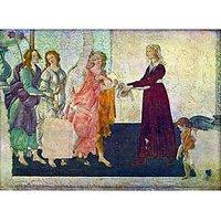 Giovanna Degli Albizzi With Venus And The Graces By Botticelli - Canvas Art Print