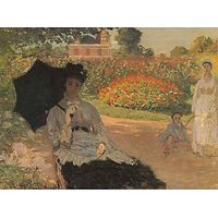 Camille In The Garden With Jean And His Nanny By Monet - Museum Canvas Print