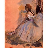 Sitting Dancer With Extended Left Leg By Degas - Museum Canvas Print