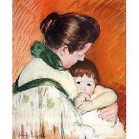 Woman And Child By Cassatt - Museum Canvas Print