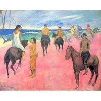 Riding On The Beach By Gauguin - Canvas Art Print