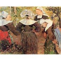 The Dance Of 4 Women Of Breton By Gauguin - Canvas Art Print