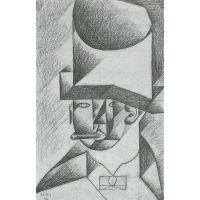 Head Of A Man With Cigar By Juan Gris - Fine Art Print