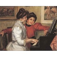 Yvonne And Christine Lerolle At The Piano By Renoir - Canvas Art Print
