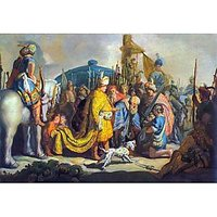 David With Goliath Before Saul By Rembrandt - Museum Canvas Print