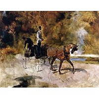 The One Horse Carraige By Toulouse-Lautrec - Museum Canvas Print