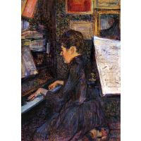 Lady Dihau Playing Piano By Toulouse-Lautrec - Canvas Art Print