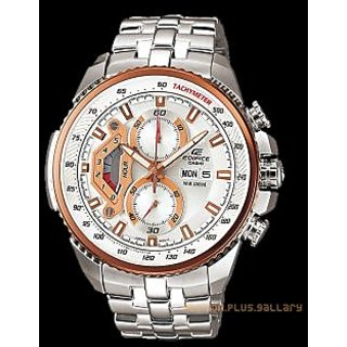 CASIO EDIFICE EF-558D-7AV COPPER SILVER DIAL SPORT CHRONOGRAPH MENS WATCH + BOX