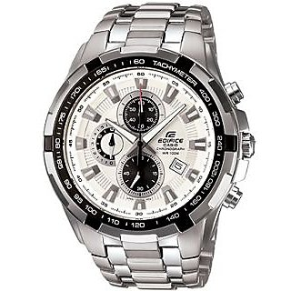 CASIO EDIFICE WHITE DIAL SPORT CHRONOGRAPH MEN WATCH EF-539 + BOX