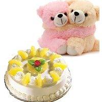 Pair Of Teddy Bears And 1/2 Kg 5-Star Pineapple Cake
