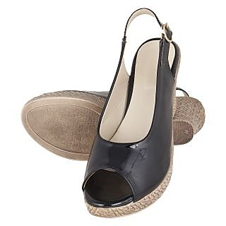 Niremo Women's Sanguine Rudiness Black Faux Leather Wedges