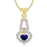 VK Jewels Love For You Blue Ruby Heart Shape Gold And Rhodium Plated Pendant - P1284G [VKP1284G]