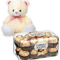 12 Inch Teddy Bear & 10 Pieces Ferrero Roch