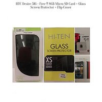 HTC Desire 516 (White) -- Free !! 8GB Card + Glass Screen Protector + Flip Cover