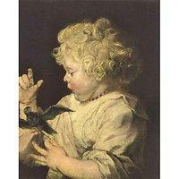 Portrait Of A Child With Bird By Van Dyck - Fine Art Print