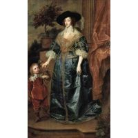 Portrait Of Queen Henrietta Maria, With A Dwarf By Van Dyck - Canvas Art Print