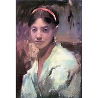 Head Of A Capri Girl By John Singer Sargent - Museum Canvas Print