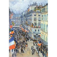 The 14Th July, Rue Daunou By Hassam - Fine Art Print