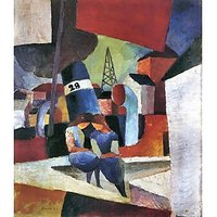 Picture With Children On The Wall - Dusiburger Port By August Macke - Canvas Art Print