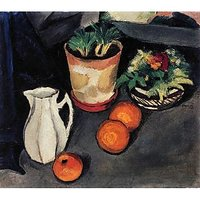 Still Life With Flowers And Milk Jug By August Macke - Canvas Art Print