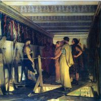Phidias Shows His Friends From The Parthenon Frieze, Detail By Alma-Tadema - Canvas Art Print