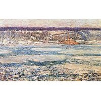 Ice On The Hudson River By Hassam - Fine Art Print