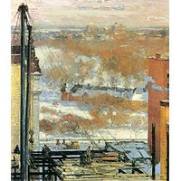 The Hut And The Skyscrapers By Hassam - Fine Art Print