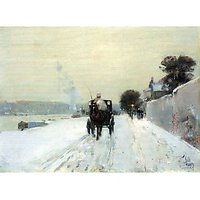 Along The Seine, Winter By Hassam - Fine Art Print