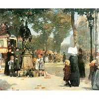 Parisian Street Scene [1] By Hassam - Fine Art Print