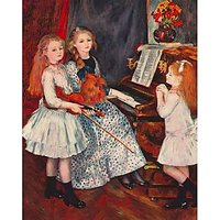 Portrait Of The Daughters Of Catulle MendÃƑ¨S-At The Piano By Renoir - Museum Canvas Print
