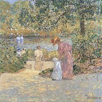 The Staircase At Central Park By Hassam - Fine Art Print