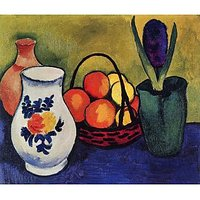 White Jug With Flowers And Fruits By August Macke - Canvas Art Print
