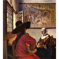 Soldier And Girl Smiling By Vermeer - Museum Canvas Print