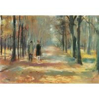 Couple Walking In The Woods By Lesser Ury - Fine Art Print
