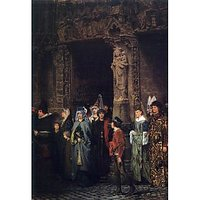 Leaving A Church In The 15Th Century By Alma-Tadema - Fine Art Print