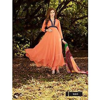 Thankar New Designer Orange Anarkali Suit With Multi Color Bandhni Dupatta