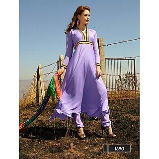 Thankar New Designer Purple Anarkali Suit With Multi Color Bandhni Dupatta