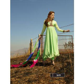 Thankar New Designer Parrot Anarkali Suit With Multi Color Bandhni Dupatta