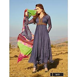 Thankar New Designer Violet Anarkali Suit With Multi Color Bandhni Dupatta