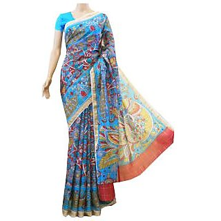 Mistyque Turquoise Kalamkari Printed Silk Kota Saree With Zari Checks