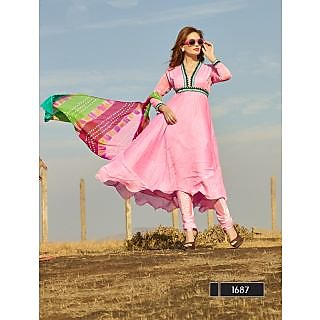 Thankar New Designer Light Pink Anarkali Suit With Multi Color Bandhni Dupatta