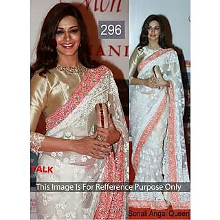 Sonali Angel White Net Designer Bollywood Saree