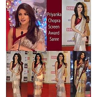 Priyanka Chopra Offwhite Designer Saree