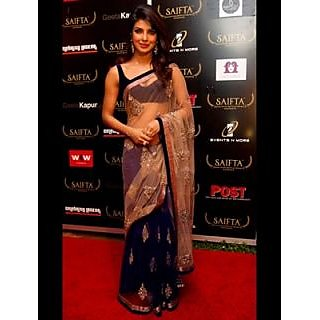 Priyanka Chopra Beige And Blue Net Partywear Saree