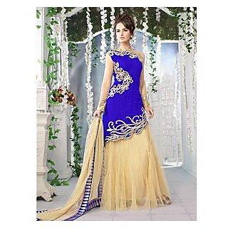Thankar Latest Designer Heavy Blue And Cream Embroidery Anarkali Suit