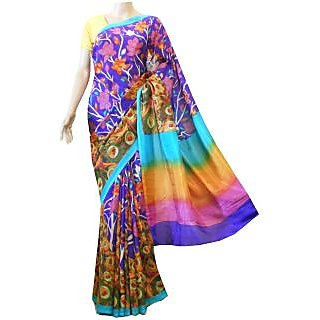 Mistyque Purple And Yellow Kalamkari Printed Silk Saree