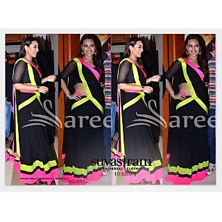 Suvastram Art Silk Black Colored Lace Worked Saree