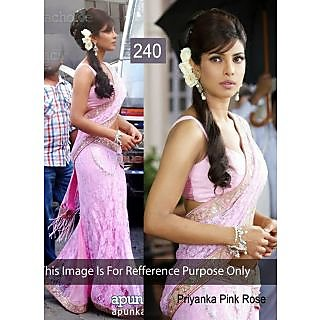 Priyanka Hot Pink Embroidery With Stone Work Bollywood Saree
